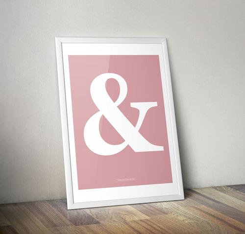 Poster Ampersand Pink. Lámina Impresa P/ Cuadro Tipo Nórdico