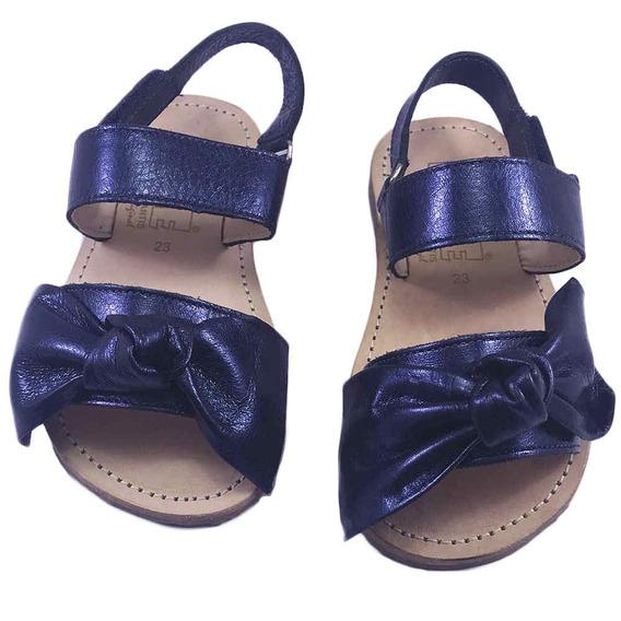 Sandália Infantil C/ Laço Azul Metálico Blue