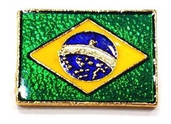 Pim Bótom Broche Bandeira Do Brasil 2,3cm Folheado Ouro Full