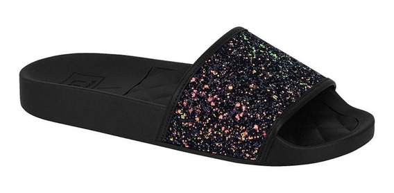 Chinelo Moleca Slide Glitter 5414.107 Feminino Preto