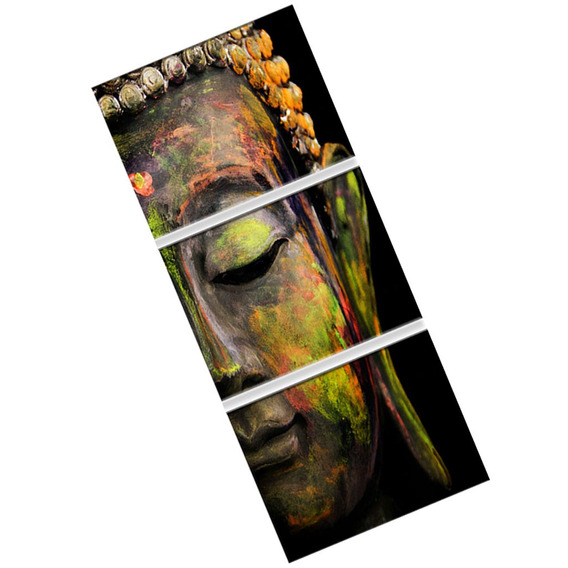 Pintura Moderno Retrato Cabeça Buda 3 Painéis Impresso Na