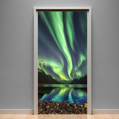 Adesivo Para Porta Paisagem 30 Aurora Boreal Verde
