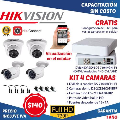 Camaras De Vigilancia Seguridad Kits 4 Cctv Dvr Hikvision