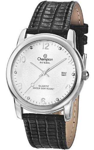 Relógio Champion Prateado Pulseira Couro Preto Mod Ca20447q