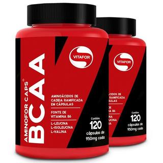Kit 2 Aminofor Bcaa Com Vitamina B6 - Vitafor - 120 Cápsulas