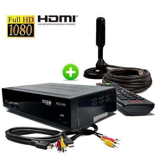 Kit Conversor Digital De Tv C/ Gravador + Antena Hdtv