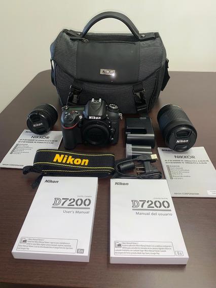 Câmera Fotográfica Nikon D7200 C/ Lentes 18-55mm E 70-300mm