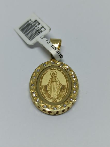 Pingente Nossa Senhora Da Medalha Com Pedras Ouro 18k-750