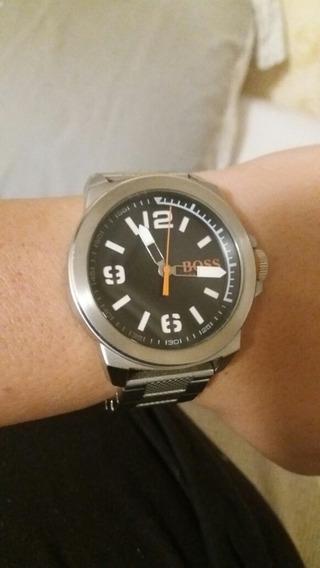 Relógio De Pulso Hugo Boss Prata Usado Com Pulseira De Aço.
