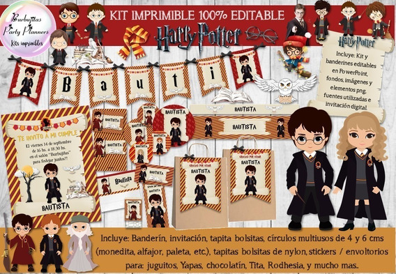 Kit Imprimible Candy Bar Harry Potter 100% Editable