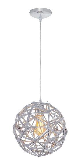 Lámpara E27 60w Colgante Esférico Cromo Con Triangulos