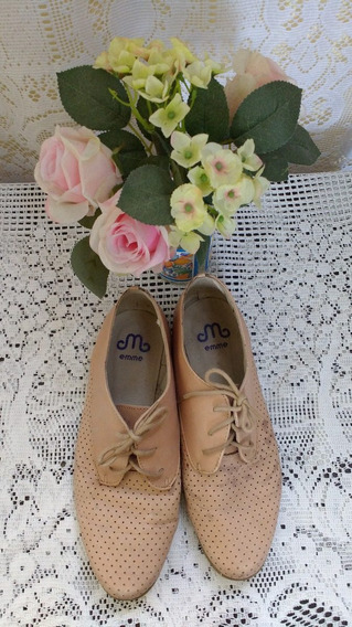 Sapato Sapatilha Bege Oxford Emme Tam 36