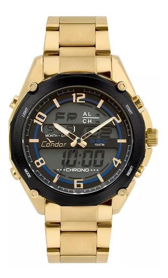 Relógio Condor Masculino Anadigi Dourado
