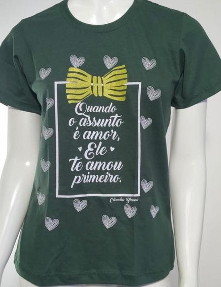 Camiseta Gospel Verde Feminina 100%algodão