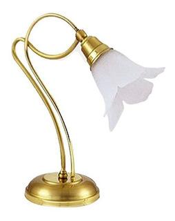 Lampara Velador De Mesa En Bronce Julieta Tulipa De Vidrio