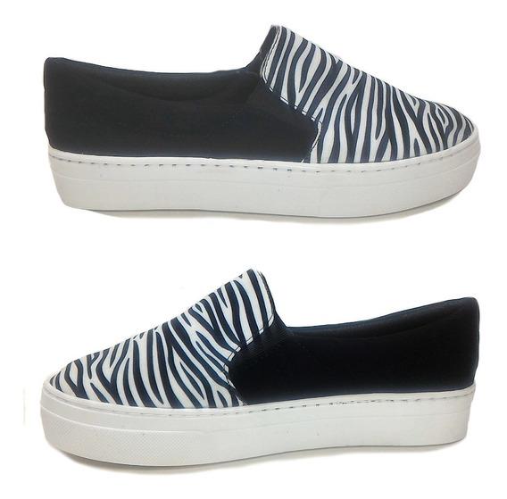 Slip On Tenis Feminino Casual Confort Animal Print Zebra