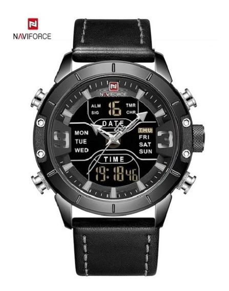 Relógio Naviforce Dual Time Pulseira Em Couro