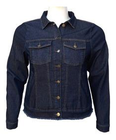 Jaqueta Jeans Feminina Cós Desfiado Plus Size