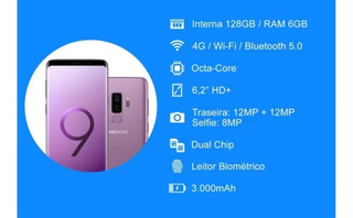 Smartphone Galaxy Samsung S9 Com 128gb De Memória.