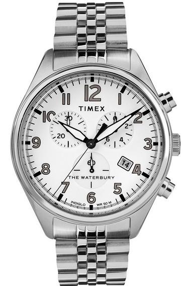 Reloj Timex The Waterbury Tw2r88500 Chrono Plateado-blanco