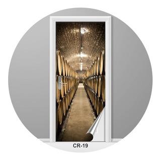 Adesivo Para Porta Caminho Adega Vinhos Criativo Cr-19