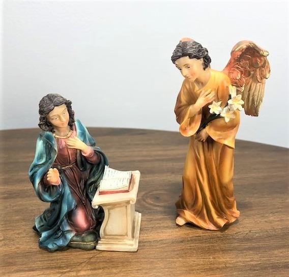 Anjo Gabriel E Maria Anunciação Resina 2 Peças Importado