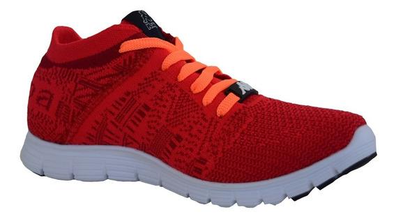 Zapato Tenis Casual Dama Mujer Naranja Con Rojo Kappa