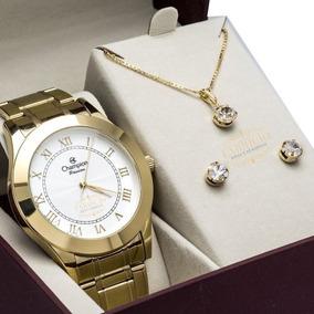 Relógio Champion Dourado Feminino Ch24544w + Brinde