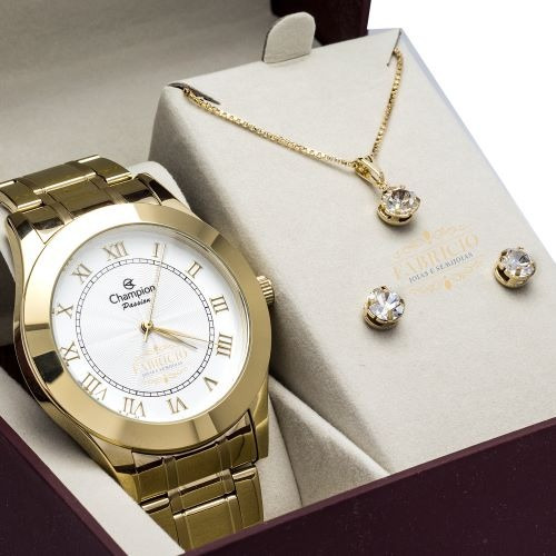 Relógio Feminino Dourado Champion Garantia + Brinde