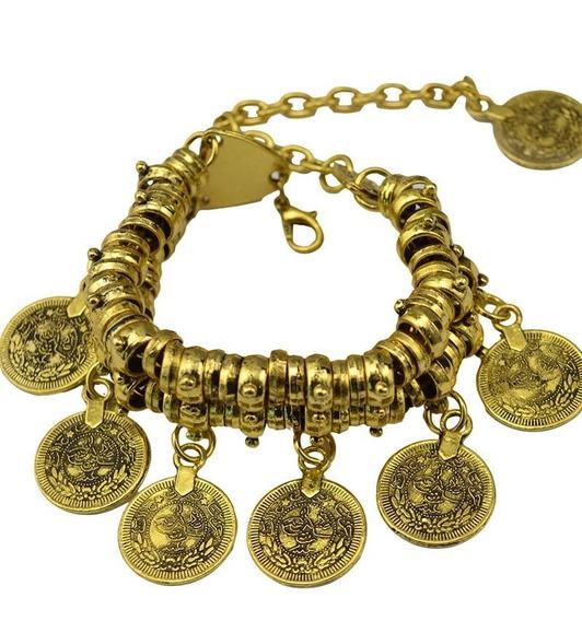 Pulseira Cigana Moedas (dourada Gipsy) Pesada - Frete Grátis