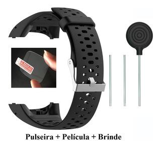 Pulseira Silicone Polar M400 M430 Preta + Película De Vidro