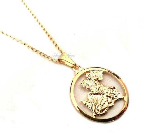 Pingente Medalha São Jorge E Corrente Folheados Em Ouro 18k
