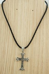 Colar Couro Pingente Cruz Crucifixo Bali (l) Prata 925