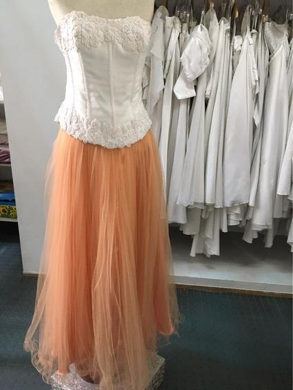 Vestido De 15 Corset Y Falda De Tul Naranja Y Blanco Salmon