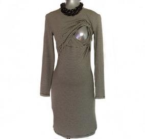 Vestido Recto De Maternidad Y Lactancia Micro Rayas