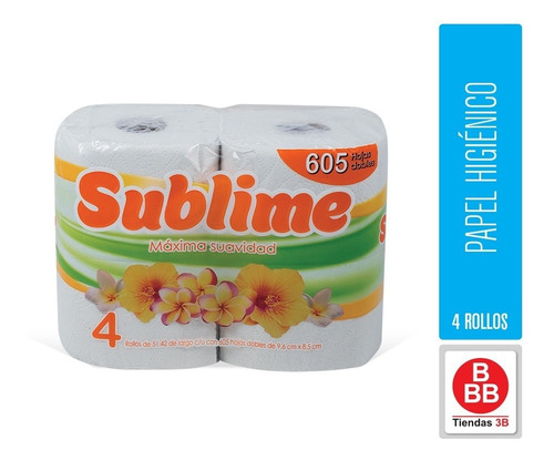 Papel Higienico Sublime Xl, 4 Rollo 605 Hojas Dobles