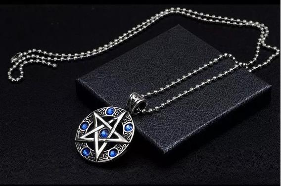 Colar Com Pingente Pentagrama Wicca Prateado Pedras Azuis