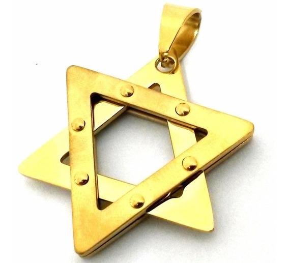Cordão E Pulseira 6mm E Pingente Estrela Davi Banhados Ouro