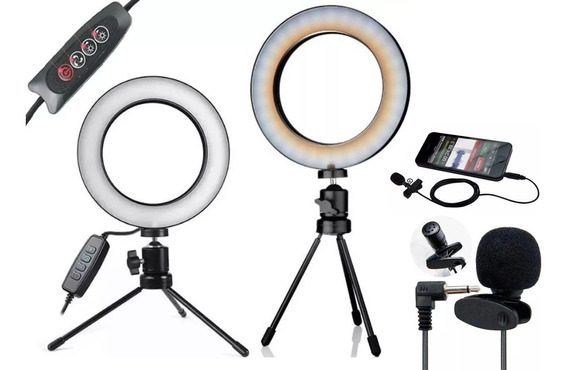 Kit Iluminação Led Ring Light Tripé Mesa Iluminador Para Vídeos Youtube Circular Ring Light - 3500k A 5500