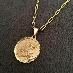 Cordão Cartier 3mm + Medalha De São Jorge Banhado A Ouro 18k