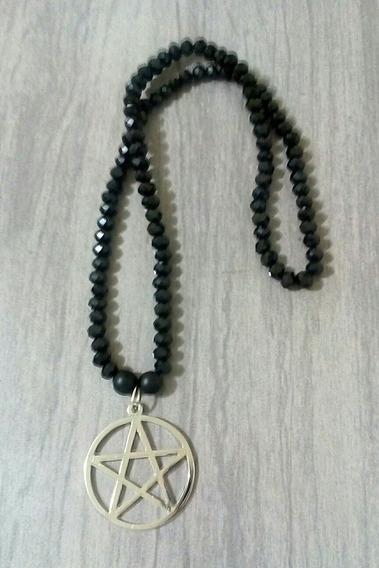 Colar Pentagrama Wicca Bruxaria E Cristais Negros