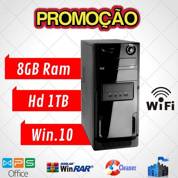 Cpu / Desktop Amd 8gb Ram Hd 500gb Win10 Teclado E Mouse