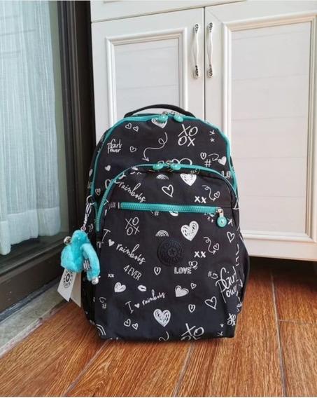 Mochila Escolar Kipling Seoul Go L Black Hearty Original