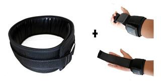 Cinto Agachamento Musculação Profissional + Par Luvas Munhequeira Strap - Com Garantia De Fábrica