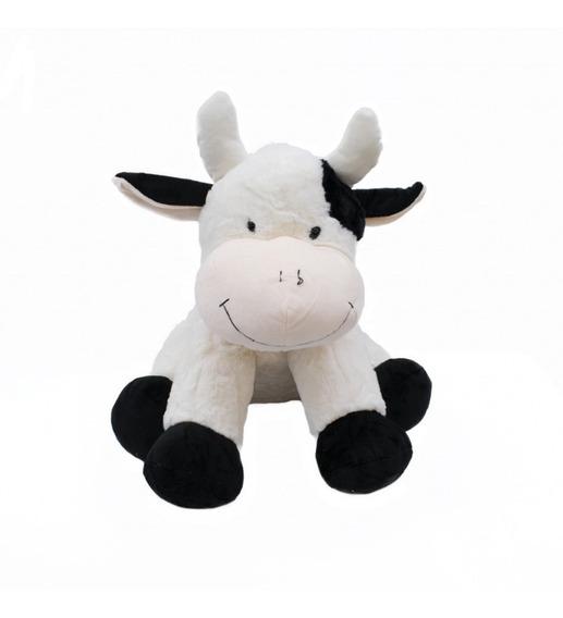 Vaquinha Branca Manchas Pretas 42 Cm - Pelúcia Vaca