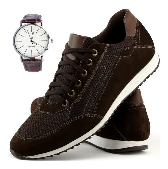 Relógio + Sapatenis Tênis Couro Legitim Jogger Masculino 2x1