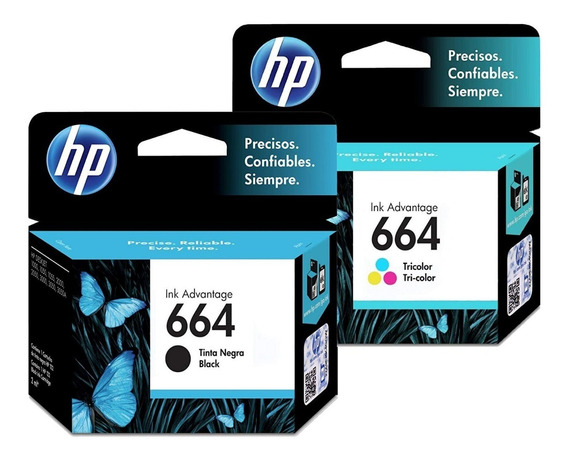 Combo Cartucho Hp Original 664 Negro + Color 3775 3635 2135