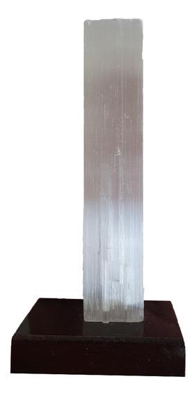 Selenita Em Base De Madeira Cristal Natural Altura 12cm