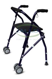 Andador Ortopedico Plegable Con Asiento Y Doble Rueda Maciza