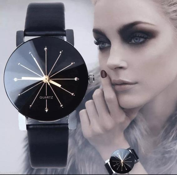 Relógio Feminino Preto Barato Pulso Pulseira Couro Promoção!
